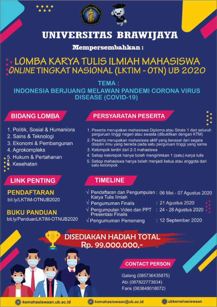 Lomba Online Karya Tulis Ilmiah Bertajuk Indonesia Berjuang Melawan Pandemi Covid 19 Department Of Physics
