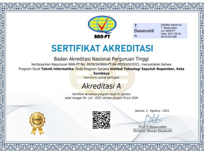 Sertifikat Akreditas BAN PT 2021 - 2026