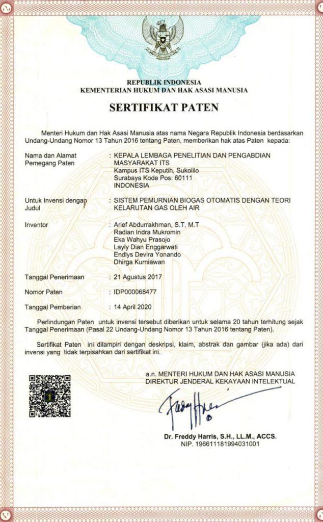 Hak Paten Biogas ITS