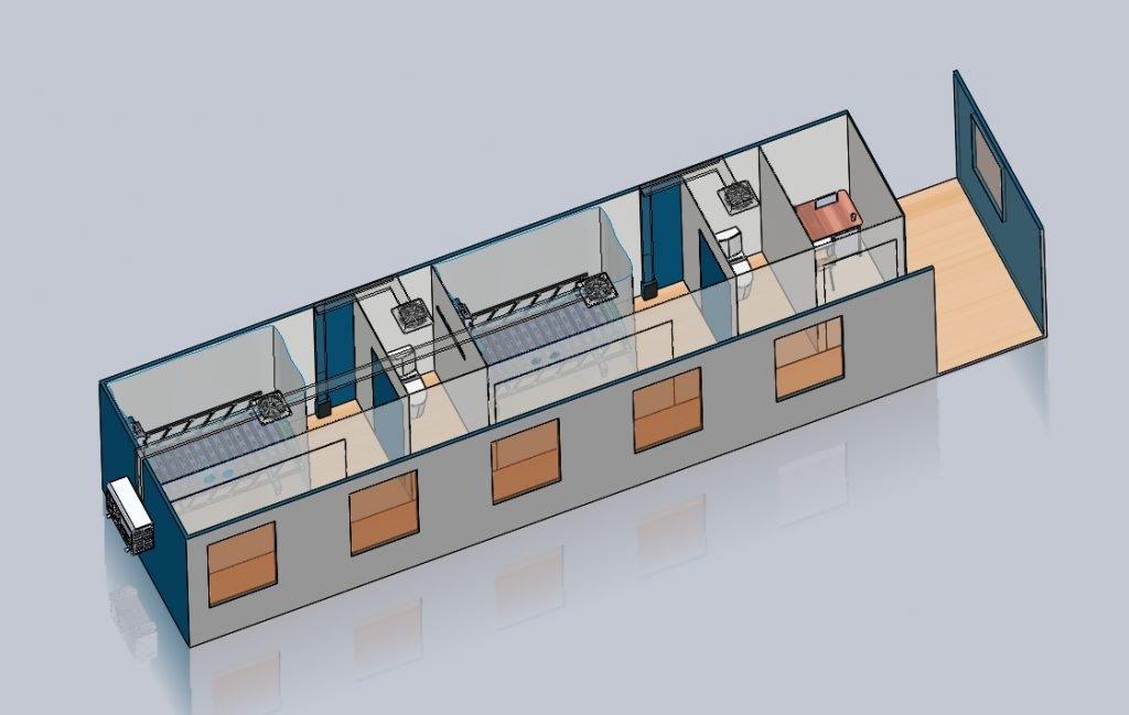 Ilustrasi desain bagian kontainer yang terdapat dua ruang kamar pasien dan toilet serta satu ruang control room