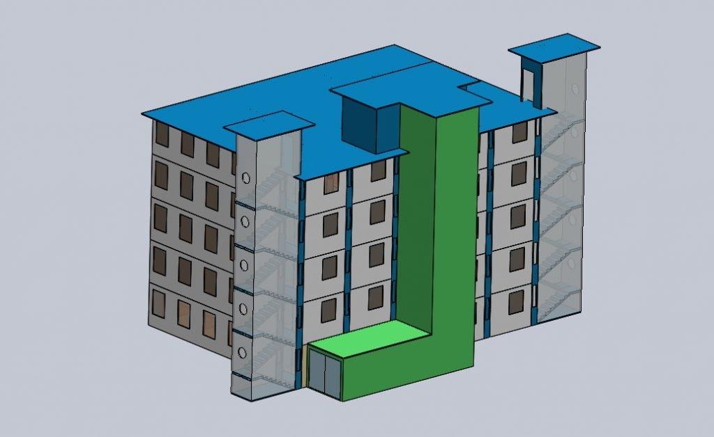 Ilustrasi desain rumah sakit kontainer berkapasitas 25 kontainer, dengan masing-masing kontainer terdiri dari dua orang pasien