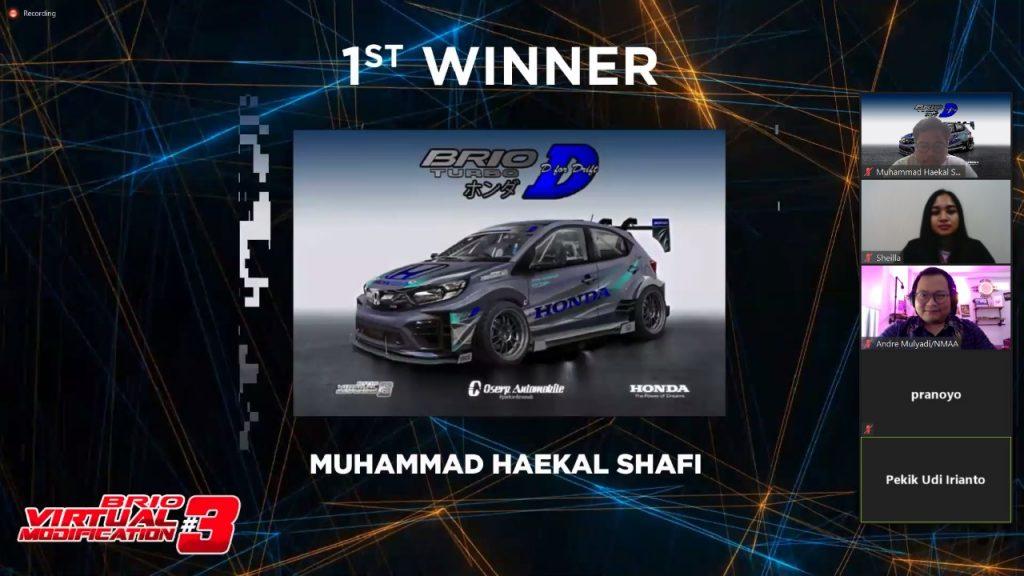 Pengumuman Pemenang Juara 1 Brio Virtual Modification #3