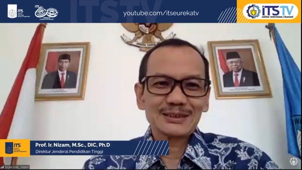Dirjen Dikti Prof Ir Nizam MSc DIC PhD IPM ASEAN Eng ketika menghadiri webinar