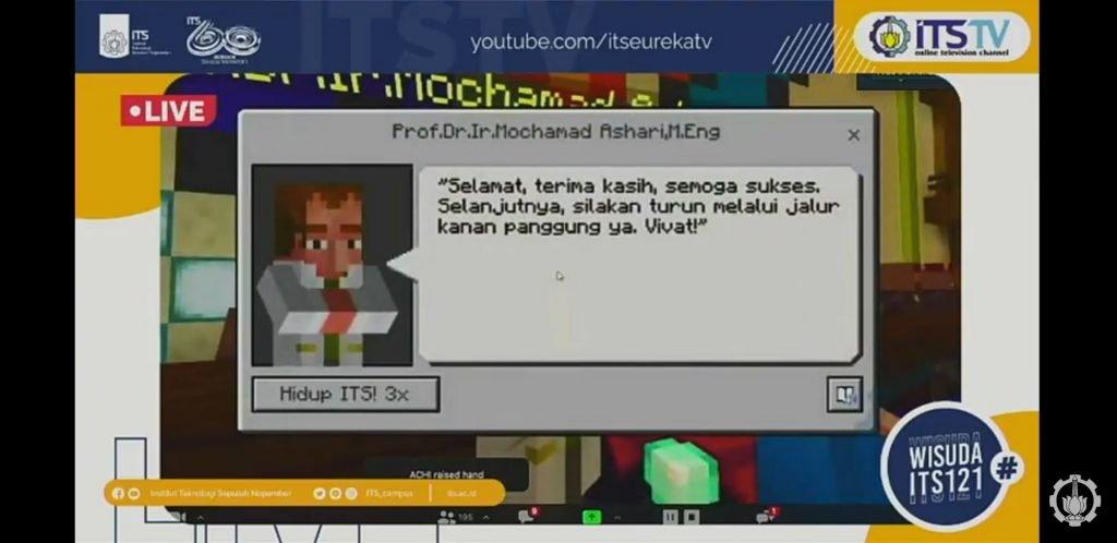 Prosesi Wisuda yang dilaksanakan secara virtual dengan menggunakan Minecraft