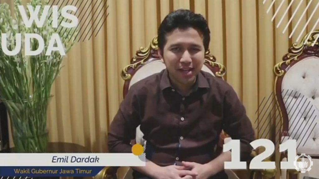 Wakil Gubernur Jawa Timur Dr Emil Dardak turut memberikan sambutan Wisuda ke-121 ITS secara daring