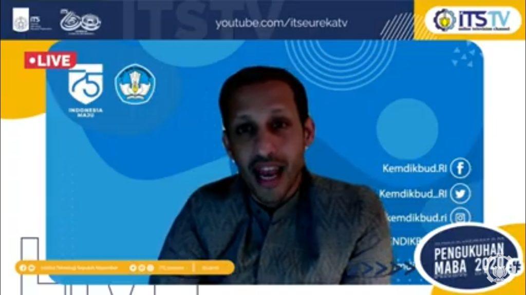 Sambutan Menteri Pendidikan dan Kebudayaan (Mendikbud) Nadiem Anwar Makarim yang dihadirkan secara virtual pada Pengukuhan Mahasiswa Baru ITS 2020