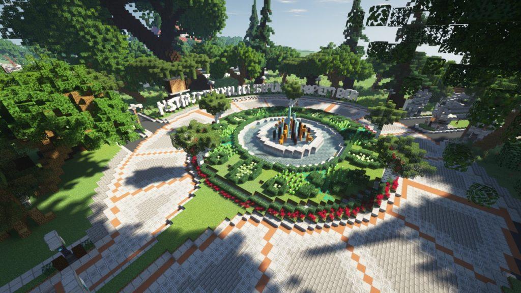 Penampakan bundaran ITS yang telah selesai proses pengerjaan di Minecraft