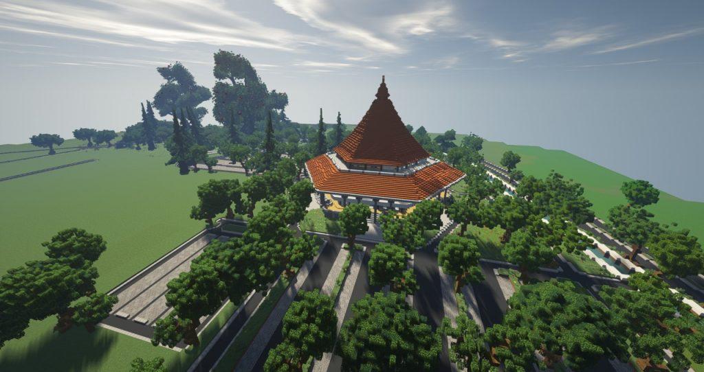 Gedung Grha Sepuluh Nopember ITS yang akan menjadi tempat wisuda dalam rancangan di Minecraft