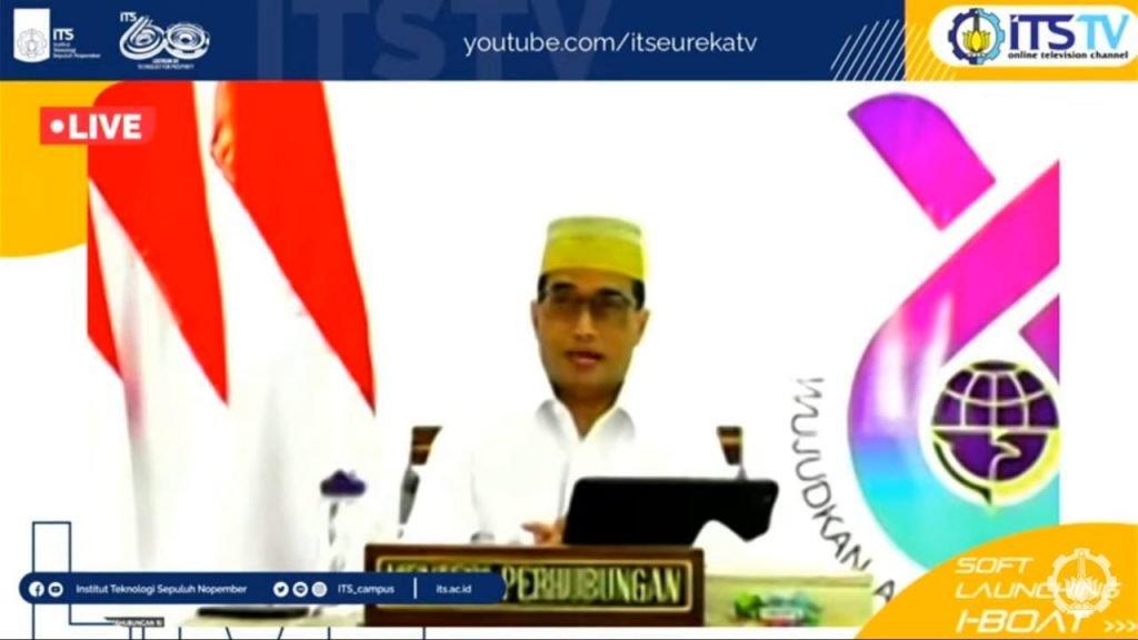 Menteri Perhubungan Ir Budi Karya Sumadi saat menyampaikan sambutan pada soft launching i-Boat secara virtual