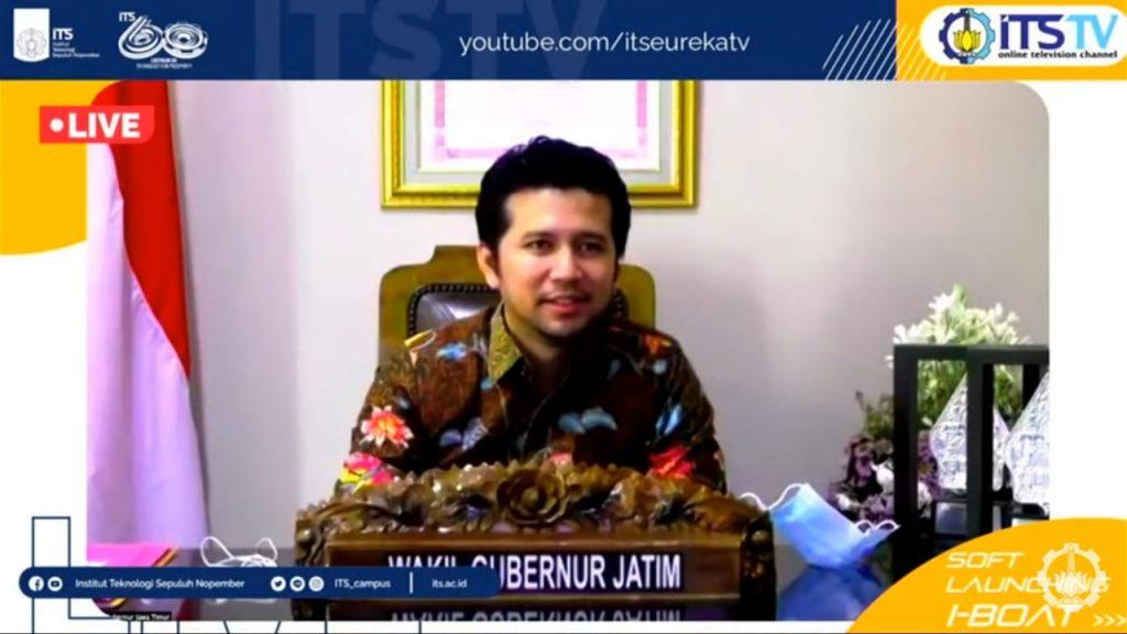 Wakil Gubernur Jawa Timur Dr H Emil Elestianto Dardak turut menyaksikan dan memberikan sambutan secara virtual pada soft launching i-Boat