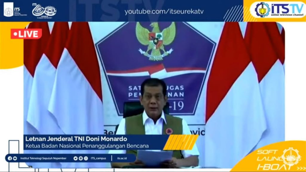 Ketua BNPB Letnan Jenderal TNI Doni Monardo saat memberikan sambutan secara virtual pada peluncuran i-BOAT ITS