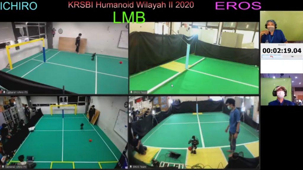Robot humanoid Ichiro ITS (layar kiri) saat menghadapi robot Eros dari PENS di babak semifinal yang digelar secara online