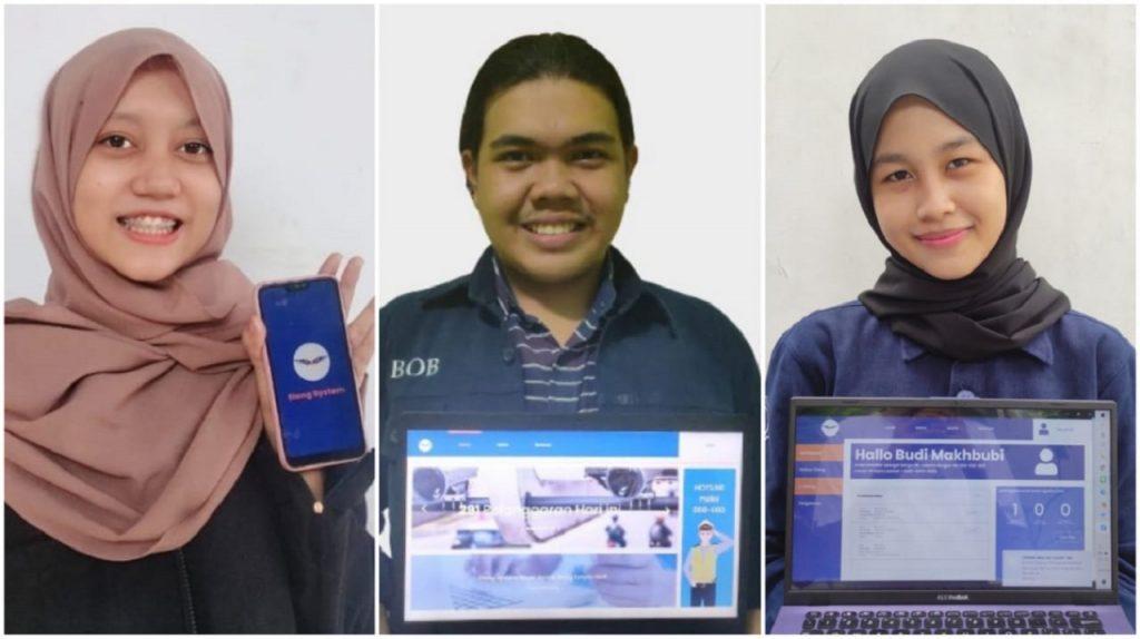 (dari kiri) Raisa Zahra Fadila, Muhammad Akbar Makhbubi, dan Tiara Hikmata Billah menunjukkan fitur yang ada pada Elang System