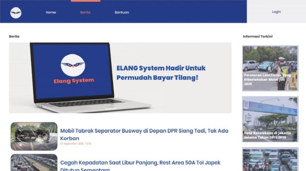 Laman berita Elang System yang dapat diakses oleh masyarakat