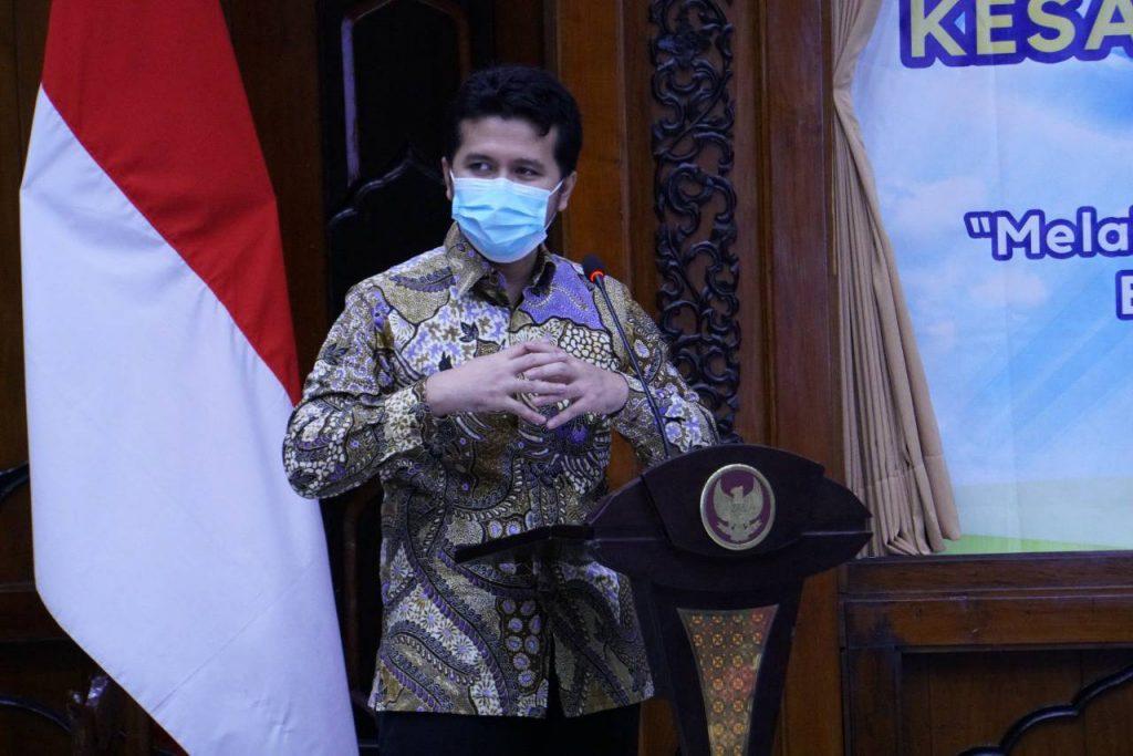 Wakil Gubernur Provinsi Jawa Timur, Emil Elestianto Dardak, ketika memberikan sambutan pada acara perilisan Card Game Palagan