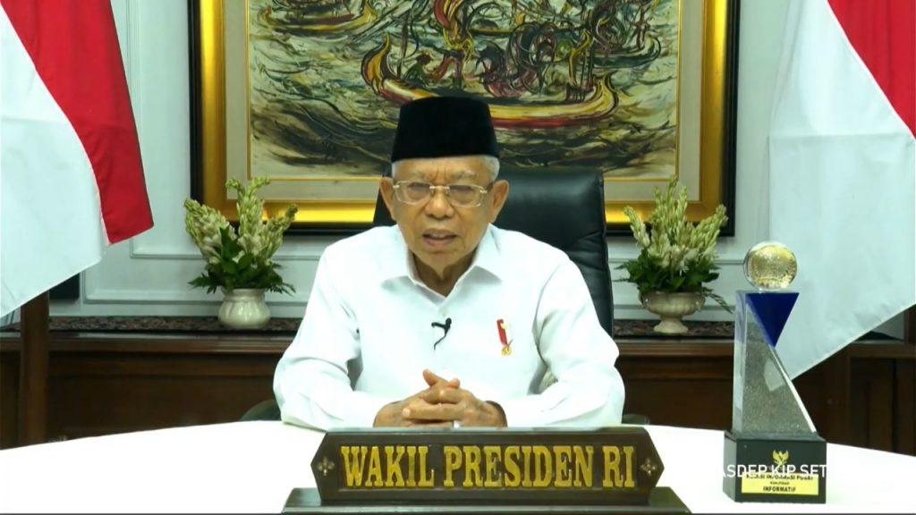 Wakil Presiden RI Prof Dr (HC) KH Ma'ruf Amin saat memberikan sambutan secara virtual pada acara Anugerah Keterbukaan Informasi Publik 2020
