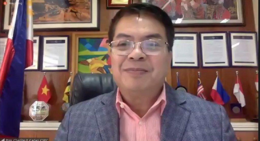 President of CSPC Dr Charlito P Cadag juga menghadiri acara virtual signing MoU