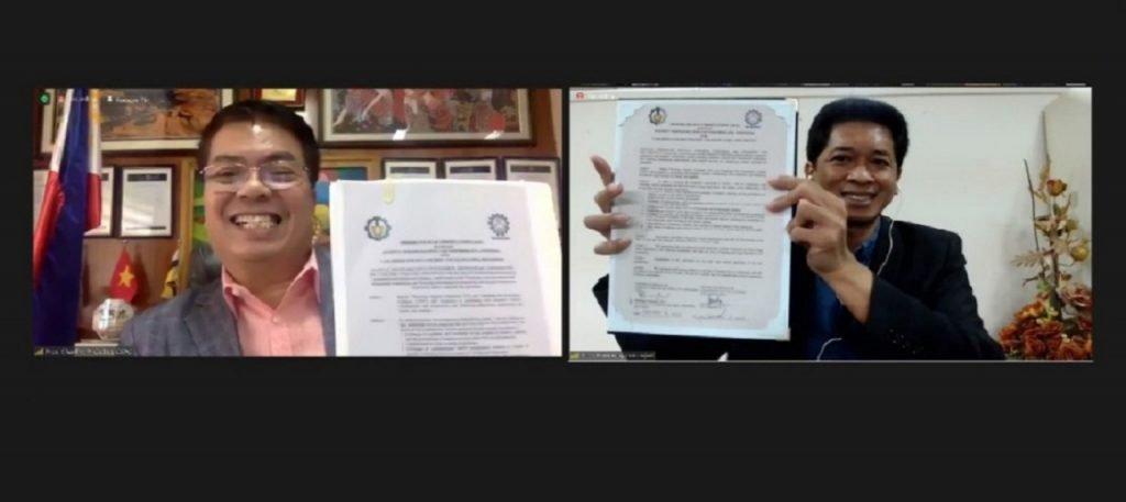 Penandatangan MoU antara ITS dengan Camarines Sur Polytechnic Colleges (CSPC) Filipina yang dilakukan secara daring