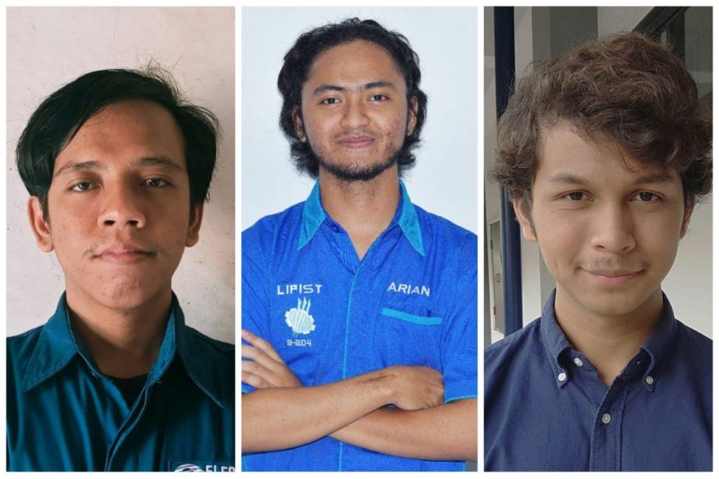(dari kiri) Ilul Rohman, Mohammad Arian Rahmatullah, dan Muhammad Haikal, anggota Tim LIP1ST peneliti Wind Energy Smoother
