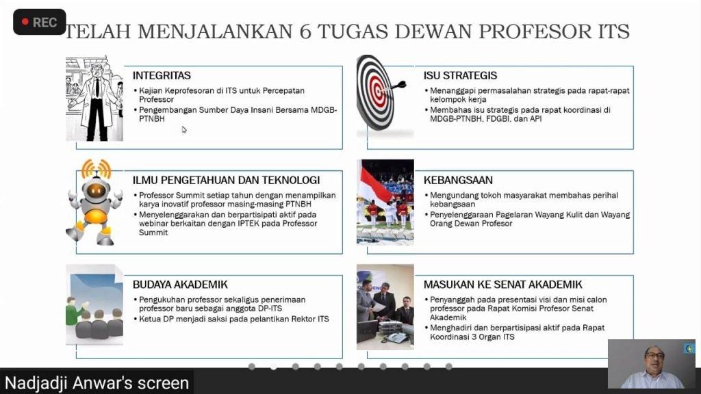 Penjabaran dari Prof Dr Ir Nadjadji Anwar MSc berupa 6 Tugas yang telah dijalankan oleh Dewan Profesor ITS