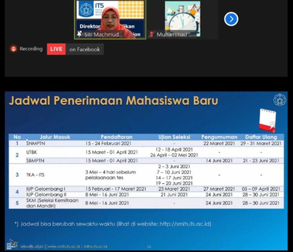 Direktur Pendidikan ITS Dr Siti Machmudah ST MEng memaparkan jadwal dari penerimaan mahasiswa baru ITS pada tahun 2021