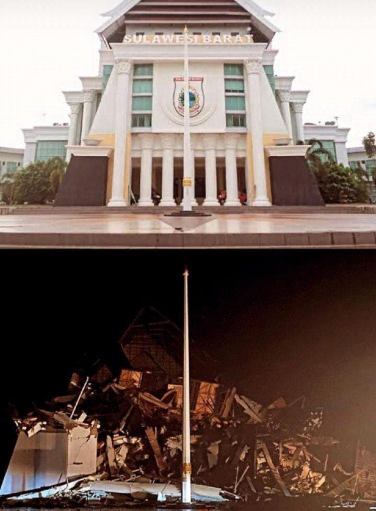 Potret Kantor Gubernur Sulawesi Barat sebelum dan sesudah terguncang gempa Majene