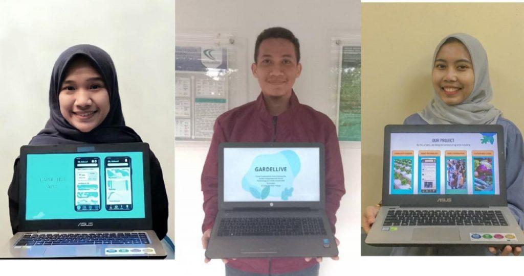 (dari kiri) Adela Fahdarina Pilliang, Muhammad Nur Slamet, dan Fahira Develin dari tim mahasiswa ITS penggagas Gardellive