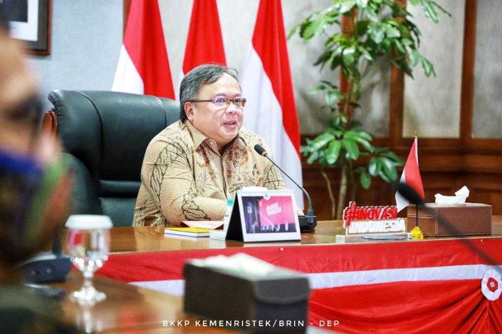 Menristek/Kepala BRIN Prof Bambang Brodjonegoro saat melakukan audiensi dengan tim peneliti i-nose c-19 dari ITS di Jakarta