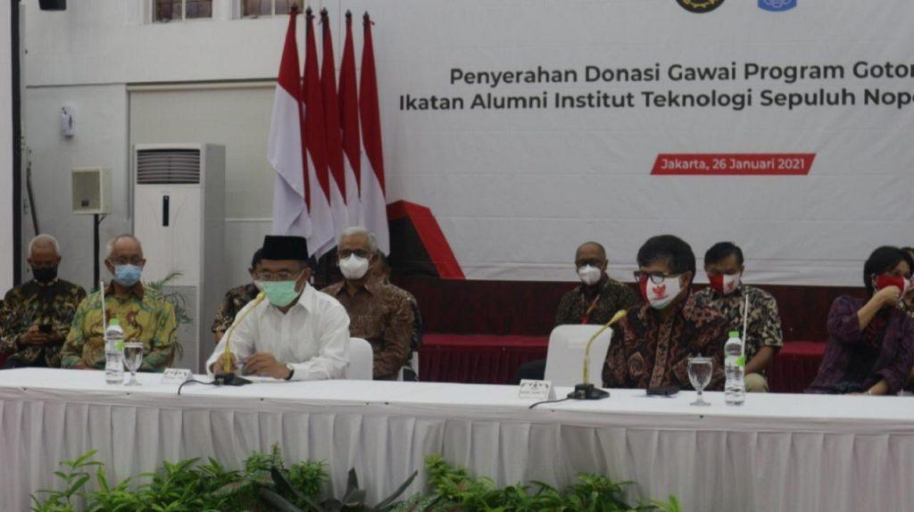 Suasana acara penyerahan donasi gawai program Gotong Royong Dukung Pembelajaran Jarak Jauh di Kementerian Koordinator Bidang PMK di Jakarta