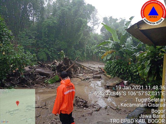 Daerah Tugu Selatan, Kecamatan Cisarua, Kabupaten Bogor setelah diterjang banjir bandang (Sumber: BPBD Bogor)
