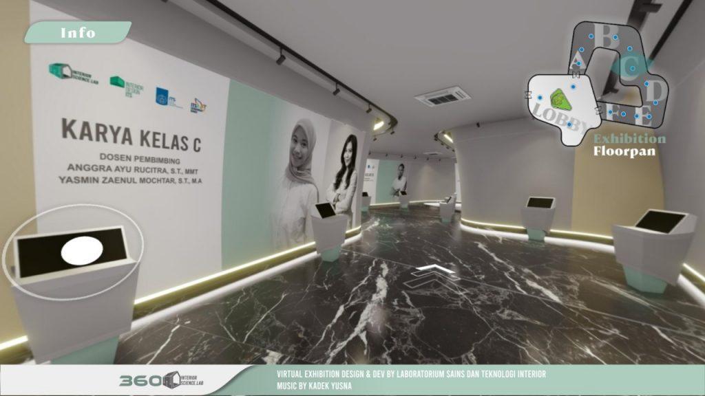 Lorong SPATIAL Virtual Gallery yang menampilkan karya-karya mahasiswa Desain Interior ITS serta profil dosen pembimbingnya