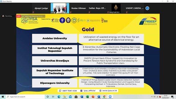 Perolehan medali emas oleh tim-tim mahasiswa ITS dalam AISEEF 2021
