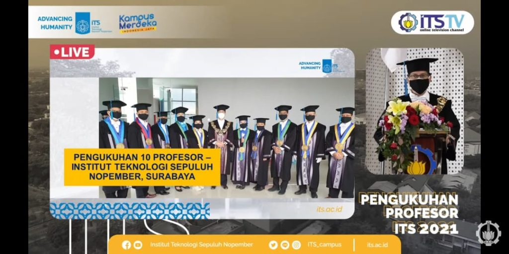 Rektor ITS Prof Ir Mochamad Ashari M Eng ketika memberikan sambutan dan ucapan selamat kepada sepuluh profesor baru yang telah dikukuhkan