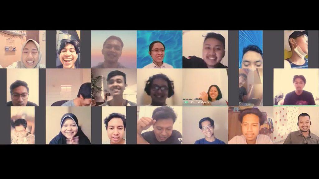 Ekspresi kebahagiaan Tim Sapuangin ITS saat memperoleh penghargaan juara yang diberikan secara daring