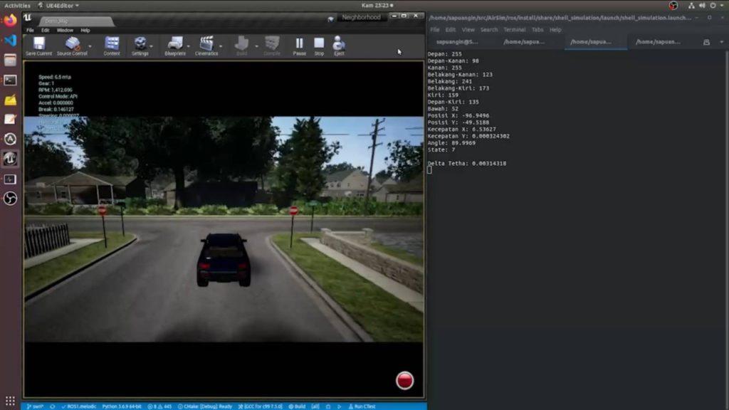 Skema simulasi mengemudi Tim Sapuangin ITS pada kompetisi Autonomous Programming Shell Eco Marathon (SEM) Asia 2021 yang digelar secara daring