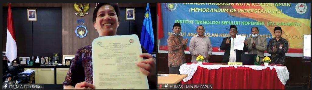 (dari kiri, membawa kertas) Rektor ITS, Prof Dr Ir Mochamad Ashari MEng dan Rektor IAIN Fattahul Muluk Papua Dr H Idrus Alhamid SAg MSi usai penandatanganan MoU