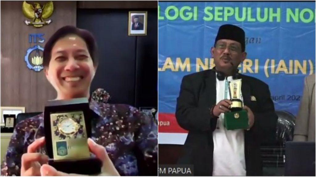 Pemberian cinderamata dari ITS dan IAIN Fattahul Muluk Papua usai penandatangan MoU