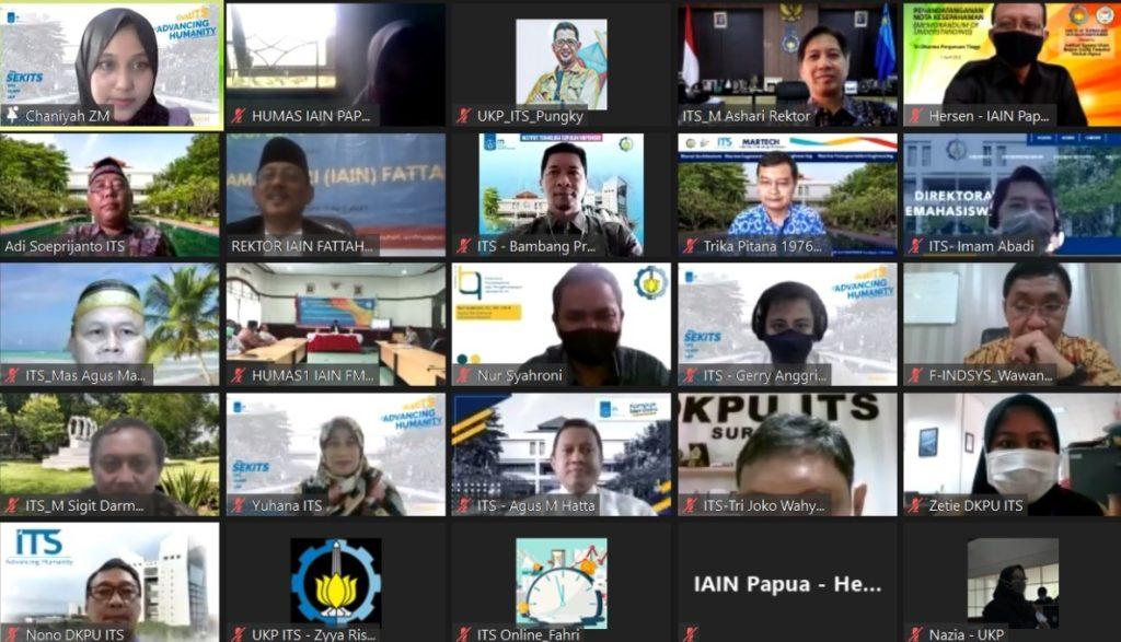 Foto bersama para jajaran ITS dan IAIN Fattahul Muluk Papua pada acara seremoni penandatanganan MoU yang diadakan secara virtual