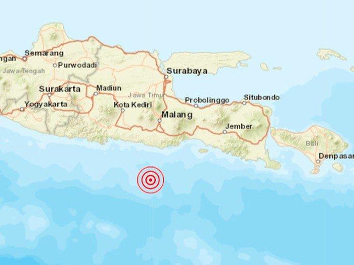 Pusat gempa di Malang (sumber dari detiknews)