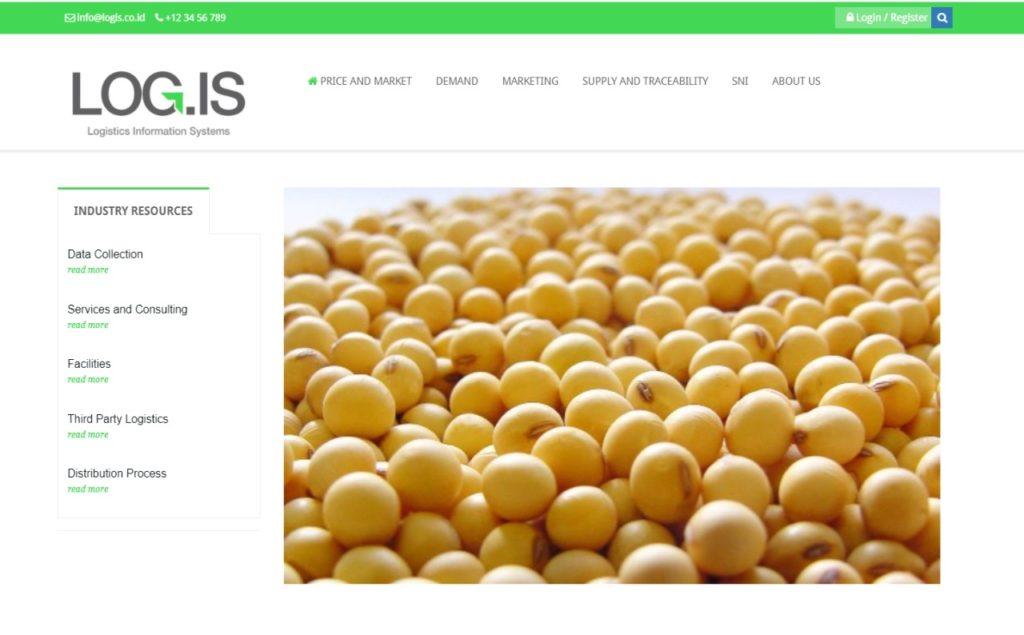 Tampilan antarmuka pengguna pada LOG.IS, mobile web yang memfasilitasi informasi logistik pangan beberapa komoditas serta jual beli online-nya