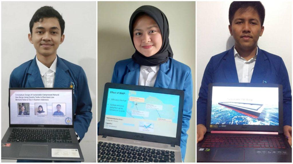 (dari kiri) Mujadid Aldin Albasyir, Annisa Aulia dan Adiv Gayu Athallah saat menunjukkan inovasi kapal tongkang buatannya