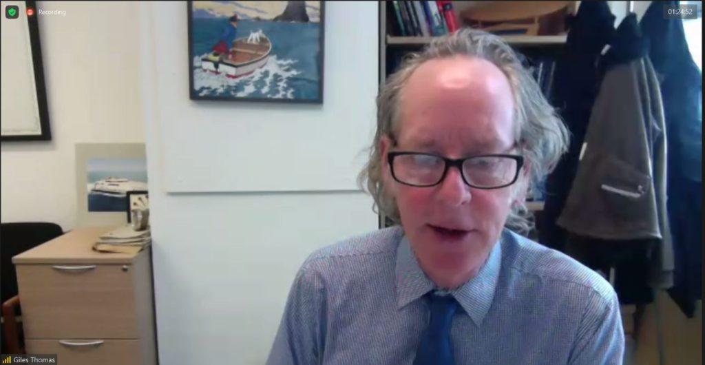 Prof Giles Thomas saat menjelaskan target proyek riset secara virtual