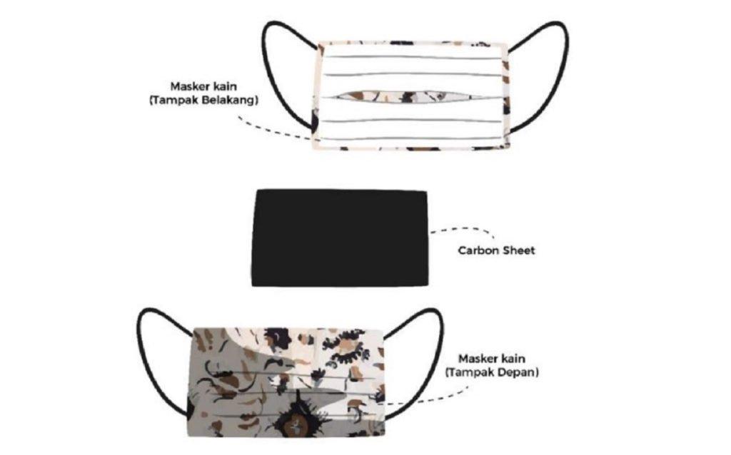 Desain masker kain dengan penambahan active carbon sheet dari tempurung siwalan yang digagas mahasiswa Teknik Kimia ITS