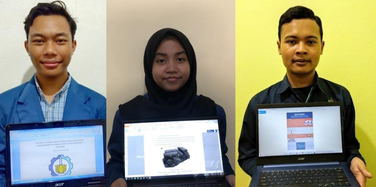 (dari kiri) Dicka Tama Putra, Zakiyah Nur Rafifah, dan Fat'hul Mubin Gufron memamerkan hasil inovasinya berupa biobriket dari bagasse dan limbah blothong yang berhasil meraih penghargaan