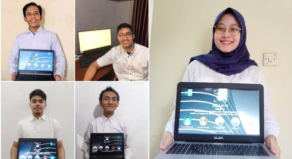 (kanan) Rahmadilla Primasiwi Nugraha, (dari kiri atas) Ilul Rohman, Hartandi Wisnumukti, (dari kiri bawah) Irfan Dhiarinda Hamdi, dan Rizqullah Fadhil Rafi sebagai tim penggagas inovasi I-Mask