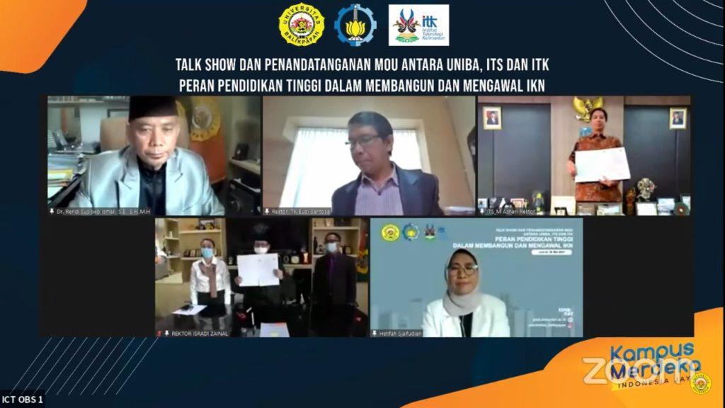 Penandatanganan MoU antara ITS dan Uniba dilaksanakan secara daring, disaksikan oleh Wakil Ketua Komisi X DPR RI