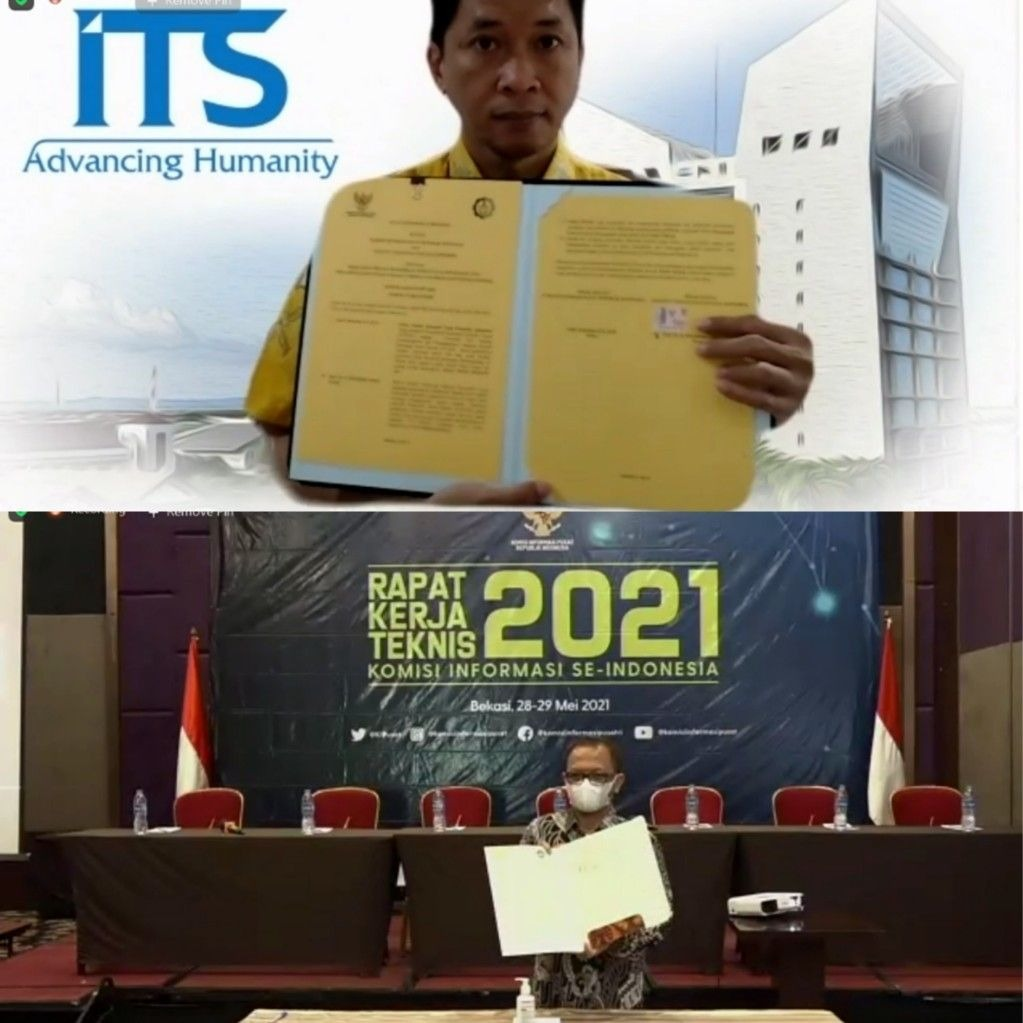 Wakil Rektor IV ITS Bambang Pramujati ST MSc Eng PhD (atas) dan Ketua KIP Gede Narayana (bawah) usai menandatangani MoU