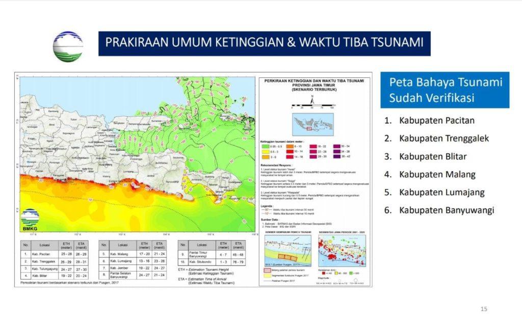 Peta Bahaya Tsunami Terverifikasi, prakiraan umum ketinggian dan waktu tiba tsunami skenario terburuk di Provinsi Jawa Timur