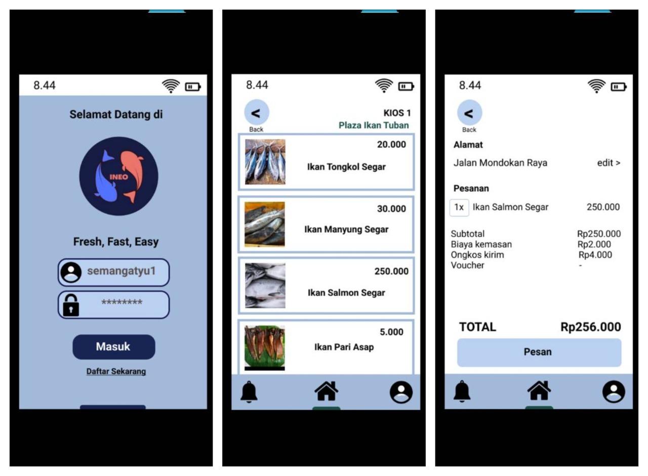 (dari kiri) Fitur menu login, fitur home sebagai tempat pembelian ikan, dan fitur pembayaran setelah memilih barang yang diinginkan