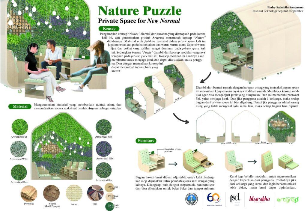 Desain eksterior dan interior dari ruang privat Nature Puzzle yang berkonsep modular